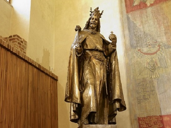 The Statue of Charles IV in the Great Hall of Carolinum