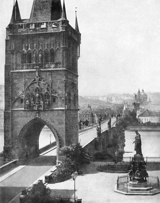 The Old Town Bridge Tower on the photography from the middle of the 19 century