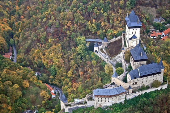Aerial view of Karlštejn castle