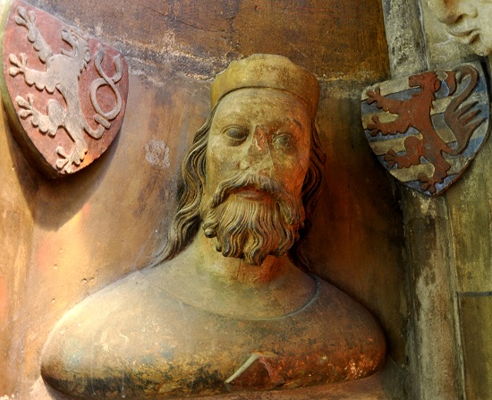 Bust of John of Luxembourg on the triforium of St. Vitus Cathedral
