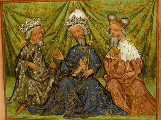 King Wenceslas IV,  Emperor Charles IV and Jobst of Moravia