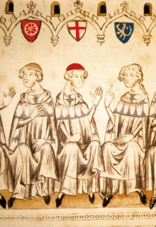 The  electors electing Emperor Henry VII. From left to right are the archbishop of Mainz, Peter, Baldwin of Luxembourg and the count palatine of the Rhine, Rudolph (Balduineum)